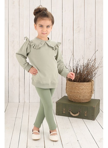 Nila Kids Açık Yeşil Rengi Yakalı Kız Bebek Organik Sweat NK08016AY (6 AY- 5 YAş) Renkli
